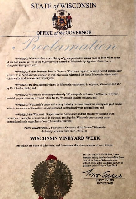 Wisconsin Vineyard Week Proclamation