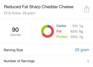 reduced fat cheddar cheese