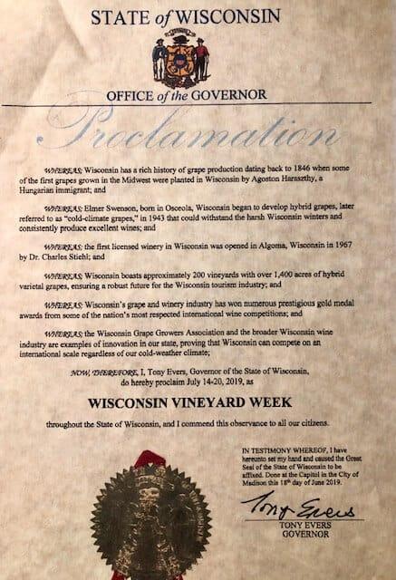 Wisconsin Vineyard Week Proclamation